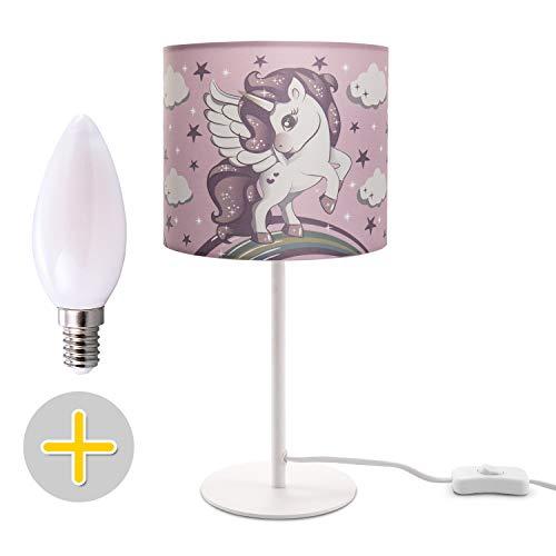 Kinderlampe LED Tischlampe Kinderzimmer, Einhorn Lampe, Mädchen Tischleuchte E14, Lampenfuß:Weiß + Leuchtmittel, Lampenschirm:Pink (Ø18 cm)