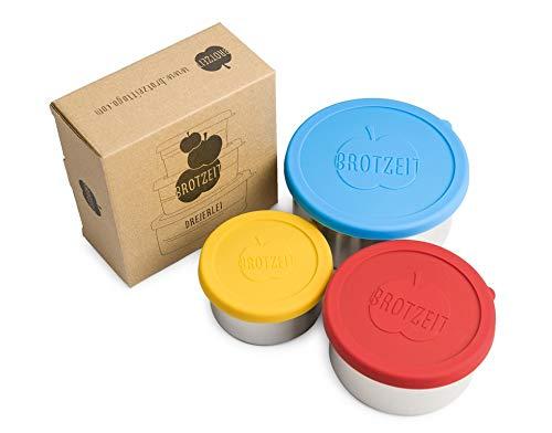 Lunchbox - 3-teilige Edelstahl Container mit Silikondeckel von