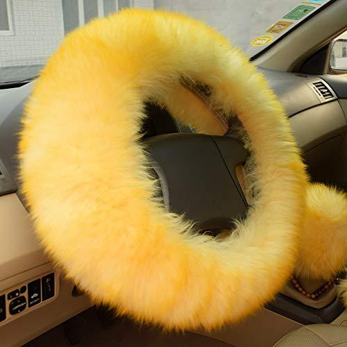 6. Yellow Fuzzy Steering Wheel Cover