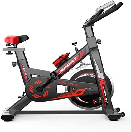 Bicicleta estática de interior con gran volante, manillar ajustable y equipo deportivo de asiento, ideal para entrenamiento cardiovascular con 5 funciones, color negro