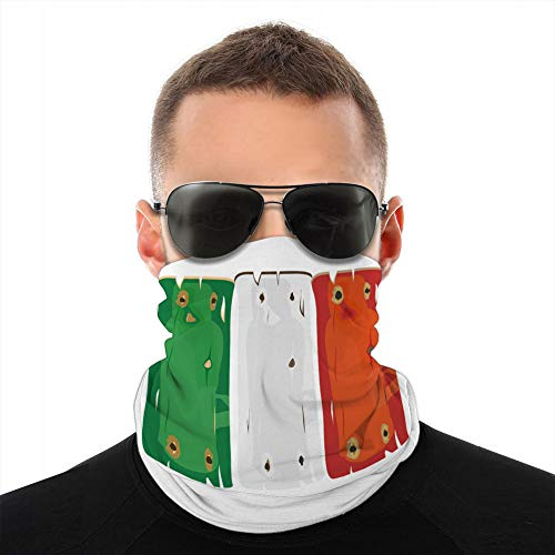 ncnhdnh Soft Microfiber Headwear Cover Scarf Neck Gaiter Italian Flag Painted on Wooden Planks Isolated Shield Cover