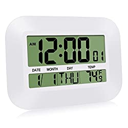 HeQiao Silent Desk Clocks Digital Wall Clock Simple Large LCD Alarm Clock with Temperature Calendar for Home Office (Ivory White)