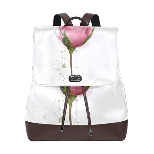 FANTAZIO Rugzakken Roze Rose Schilderij School tas leer Daypack