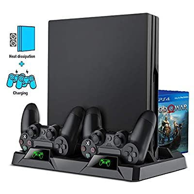 BEBONCOOL Stand Accessoris for PS4 Stand Cooling Fan for PS4 Slim / PS4 Pro/Playstation 4, PS4 Pro Stand Vertical Stand Cooler with Dual Controller Charge Station & 16 Game Storage