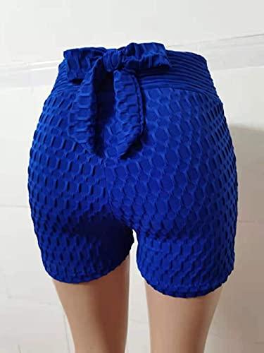 ArcherWlh Yoga Pantalones,2021 Yoga Sports Fitness Shorts Detrás de la Mesa Bow Summer High Cintura Pantalones Cortos Deportivos-Azul_L
