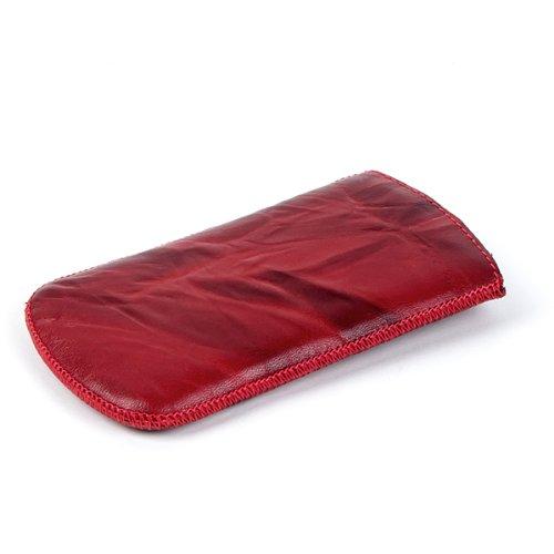 NFE² Echtleder Etui rot mit Ausziehlasche für tecmobile Handy 150