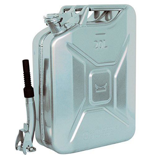 Baumarktplus TRUTZHOLM 1x Metallkanister 20l Benzinkanister Kanister Silber + Ausgießer flexibel TrutzHolm® by