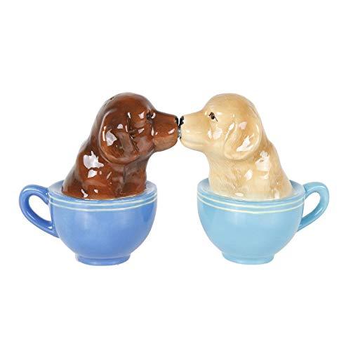 Besándose de cachorros Labrador en taza de té juego de salero y pimentero, diseño de labradores de mesa decoración SP Set