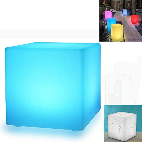 WIVION Cubo de luz Solar para jardín LED, lámpara Solar de Cubo RGB luz Decorativa lámpara de jardín para Exterior Luz de Cubo IP67 (30 x 30 cm)