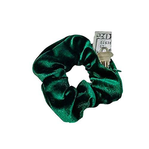 NNIOV HiddenZipper Scrunchies, Stash Pocket Scrunchie, Velvet Chiffon ElasticHair Tie, Bracelet, Perfect for Festivals, Concerts, Working out, Key Money Lipstick Storage Bag (SIMPLE PEACOCK GREEN)