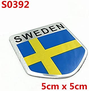 3D Aluminium Sweden National Flag Emblem Badge Car Styling Sticker Motorcycle Decal For Volvo Ford BMW BENZ Toyota Honda Audi VW - (Color Name: S0392)