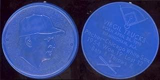1955 Armour Coins Regular (Baseball) Card# 22 virgil fire trucks (blue) lite black swirl of the Chicago White Sox ExMt Condition