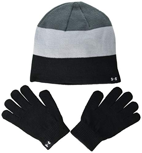 Under Armour Boys' Beanie Glove Combo , Black (001)/White , One Size Fits All