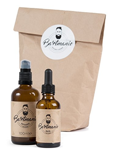 Bartmanie 2 teiliges Bartpflege-Set mit Bartshampoo (100ml) & Bartöl (50ml), Geschenkset für Männer - Perfekte 3 Tage Bart-Pflege