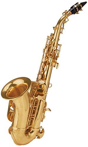 Roy Benson RB700695 - Saxofón soprano en Sib SG-302, forma curvada, estuche ligero tipo mochila
