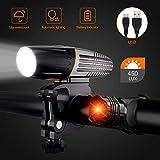 Luci Bicicletta LED Ricaricabili USB, Luci LED per Bicicletta, Dimmerazione della luce int...