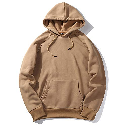 NREALY New Men's Fall Casual Solid Hip Pop Loose Fit Fleece Long Sleeve Hoodie Top Blouse(L, Khaki)