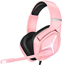 Gaming Headset Xbox one Headset with Mic Stereo Gaming Headset, Noise Immunity Swivel Mic & LED Light, Suspension Headband PS4 VR Headphone Compatible with PC PS5 Xbox One Nintendo Switch MAC (Pink)