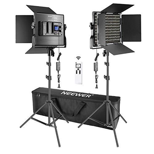 Neewer 2 Pack Avanzado 2,4G 660 LED Video Luz Fotografía Kit Iluminación con Bolsa, Panel LED Bicolor Regulable con Control Remoto Inalámbrico 2,4G, Pantalla LCD y Soporte Luz...