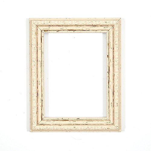 Verzierter Bilderrahmen im Shabby Chic / Foto / Posterrahmen - Mit Rückwand aus MDF - Mit bruchsicherem Plexiglas aus Styrol für hohe Klarheit - Weiss Distressed 24 x 18 Zoll