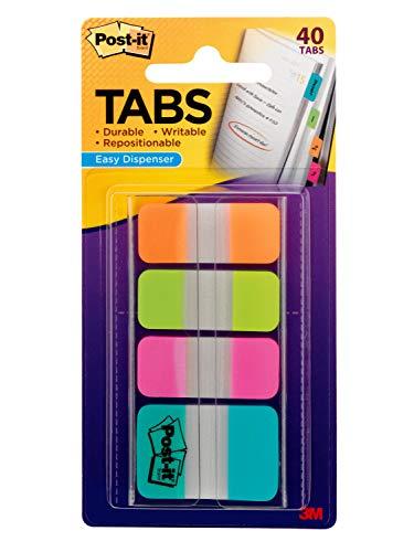 Post-it Tabs, 1 inch and 5/8 inch, Orange, Lime, Pink, Aqua, 10/Color, 40/Dispenser (686-OLPA-OTG)