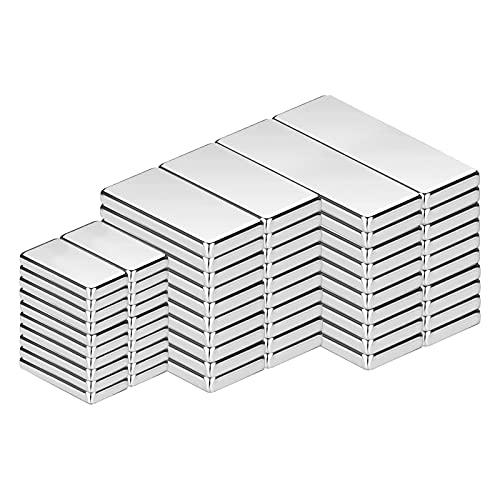Imán de Neodimio, imanes cuadrados de 60 piezas en diferentes tamaños, imanes de tierras raras fuertes para manualidades, pizarras blancas, imanes de nevera de bricolaje, 3 tamaños