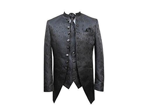 Hochzeit Anzug Cutaway 5-teilig Jacquard Tailliert Schwarz 62