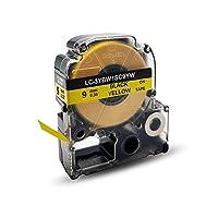SC9YW 黄地黒文字 単品 9mm幅X8m 互換 キングジム テプラ テープ PRO機種対応 汎用 テープカートリッジ ラベルシール「Color Skyer」(SC9YW・黄地黒文字・単品)