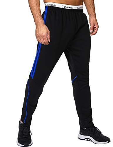 FITTOO Herren 2 Gestreift Sporthose Streifen Lange Trainingshose mit Tunnelzug Reißverschluss am Beinabschluss Jogging-Hose für Laufen Fitness Trainierung Schwarz-Blau L