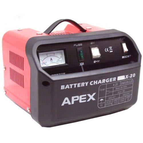 D+L KFZ Batterieladegerät Ladegerät 20 Starhilfe PKW LKW 12V 24V Motorrad Booster, Autobatterie-Ladegerät 12 V/24 V AWZ Batterie Ladegerät für Auto und Motorrad, mit Polklemmen, Ladekabel