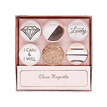 Rose Gold Fridge Magnets 6pcs Round Glass Refrigerator Magnet Sticker Use at Home Kitchen School Office for Refrigerator Dry Erase Board and Whiteboard Gift Idea  Rose Gold
