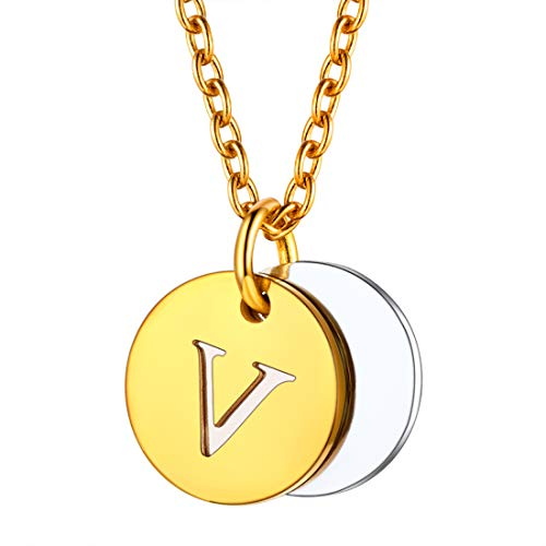 U7 イニシャルネックレスV レディース コインネックレス ゴールド ステンレス 2枚 小さめ 大人可愛い アクセサリー 母の日プレゼント