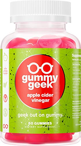Gummy Geek: Apple Cider Vinegar Gummies - Nutritional Supplement for Digestion, Detox, and Immune Support - 60 Count - Vegan, All Natural, Non-GMO - Delicious and Easy to Chew - No Sour Taste
