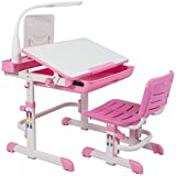 Best Choice Products Height Adjustable Children's Desk and Chair Set For Kids Work Station, Study Area- Pink