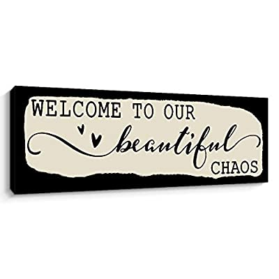 Pigort Welcome To Our Beautiful Chaos Funny Wall Art Decor, 6x17 Inch Family Decorative Signs Retro Artwork Canvas Prints (Black)