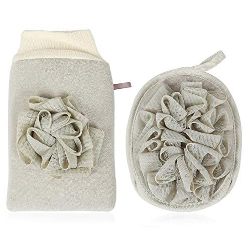 Peelinghandschuh rau für Körper Gesicht - 2 IN 1 Premium Peeling Handschuh Badeschwamm set aus Pflanzenfaser, reinigt porentief Massagehandschuh Wellness Handschuh für Körperpeeling, Hamam, Dusch