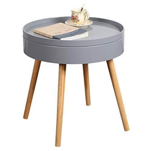 Tables basses Côté Canapé Table Ronde Table De Chevet Chambre Nordique Mini Coin Mobile Cadeau (Color : Gray, Size : 49.5 * 51.5cm)