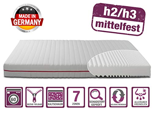 BMM Matratze Klassik 19 - orthopädische 7-Zonen Kaltschaummatratze 90x200 cm, H2 / H3 mittel-fest, Bezug V2 Premium Doppeltuch, Höhe 19cm