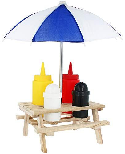 COM-FOUR® 6-delige premium cruet set picknicktafel met parasol - sausdispenser en kruidenstrooier in houten standaard - met zoutstrooier, peperstrooier, mosterd & ketchup (06 stuks - cruet set)