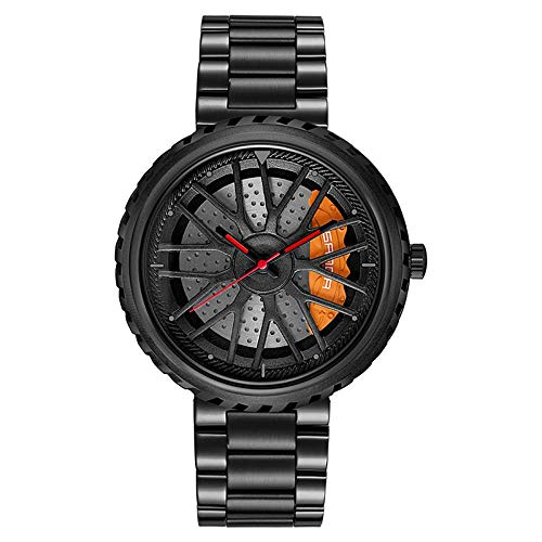 Relojes De Pulsera,Reloj De Cuarzo Resistente Al Agua Personalidad Modelo De Rueda De Coche Reloj, Todo Negro