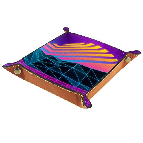Yuzheng Vaporwave Bandeja de cajones Escritorio Papelería Artículos Diversos Gadget Organizador de Cuero Plegable Caja de Almacenamiento Contenedor de Llaves 16x16cm