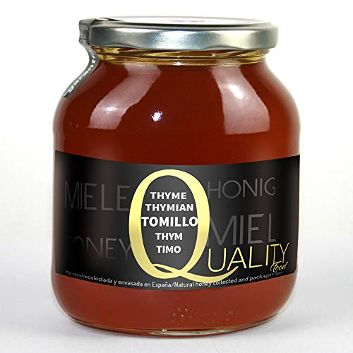 Miel d'abeille pur 100%. Miel de Thym brut. 1 Kg. Produit en Espagne. Non pasteurisé et non chauffé. Artisan de haute qualité. Bocal en verre. Grande variété de saveurs exquises.