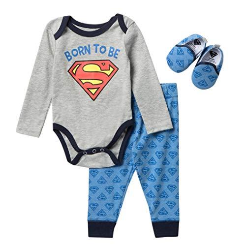 DC Comics Superman - Body de manga larga con pantalones de pullon y zapatos a juego - gris - 6-9 meses