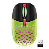 Wireless Gaming Mouse, 2.4G Portable Computer Mouse with Honeycomb Shell,Adjustable DPI, Silent Click, 7 Changeable LED Color Ergonomic Optical Gamer Mice for Laptop PC Gamer Computer Desktop (Green)