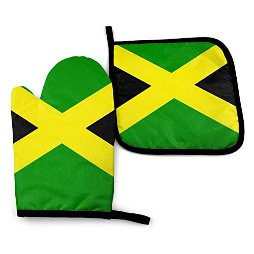 MYGED 2 pezzi Guanti da forno e presina Bandiera giamaicana Guanti da forno da cucina impermeabili Guanti resistenti al calore Pad per barbecue Cottura Cottura Grigliare