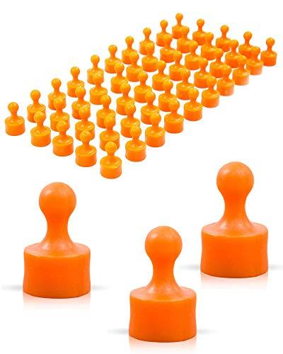 JOAM ® Imanes de neodimio – Función extra alta gracias a la fijación fácil y rápida de notas a la pizarra magnética – Accesorios para oficina, hogar, escuela – Imanes de color naranja