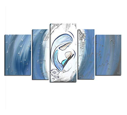 Cuadros cabecero pintados a mano azul Virgen con Niño para cama listo para colgar Dormitorio alta calidad, 'Made in Italy - Luz ...