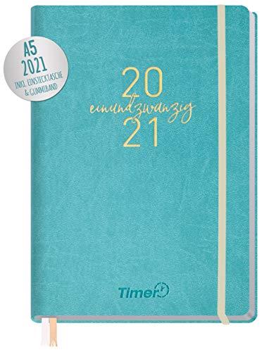 Chäff-Timer Premium Kalender 2021 A5 [Petrol-Gold] Terminplaner, Terminkalender, Wochenplaner, Wochenkalender, Organizer mit Gummiband und Einstecktasche | nachhaltig & klimaneutral