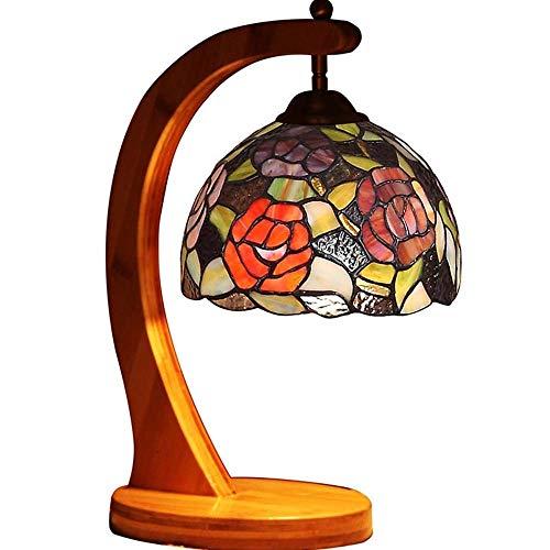 Mesilla de Noche Lámpara de Mesa para Dormitorio Tabla floral de la lámpara, lámpara de cabecera decorativo hecho a mano del vidrio manchado de bambú carbonizado Base Jardín de las Rosas de la lámpara