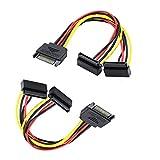 Siyu Xinyi SATA Power Cable, [2-Pack] 6-Inch SATA 15 Pin Male to 2xSATA 15 Pin Down Angle Female Power Splitter Cable